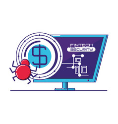 Desktop computer with financial technology vector