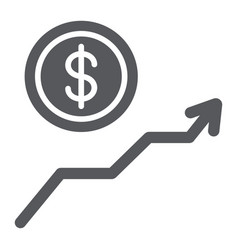 dollar growth glyph icon financial and graph vector image