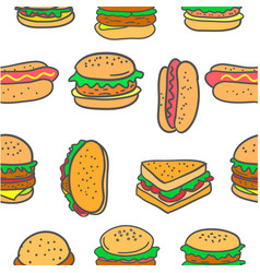 Doodle of various burger fast food vector