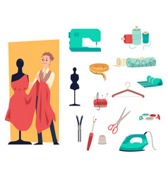dressmaker or tailor man and sewing tools set of vector image