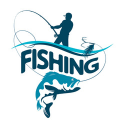 Fisherman draws fish silhouette vector