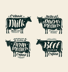 Food vintage label set cow bull beef milk vector