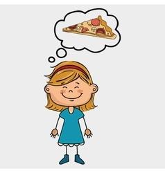 Girl pizza food speak vector