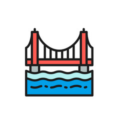 golden gate bridge san francisco usa flat color vector image