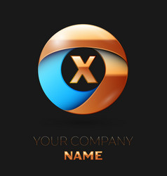 golden letter x logo symbol in golden-blue circle vector image