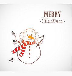 greeting christmas card with snowman in scarf and vector image