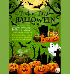 halloween pumpkin card for night party invitation vector image