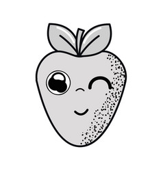 Hand drawn kawaii nice funny strawberry icon vector