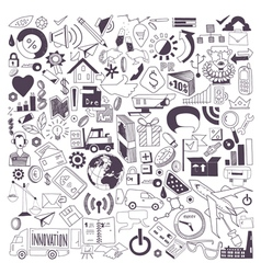 Hand drawn of business doodles vector