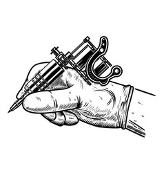 Hand with tattoo machine design element for vector