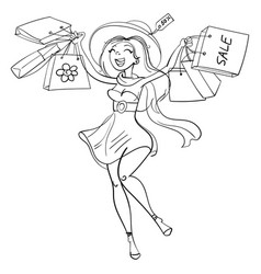 happy girl with shopping bags in shop vector image