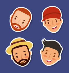 Happy men faces smiling character vector