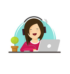 Happy woman working on computer vector