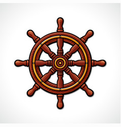 Helm wheel isolated drawing vector