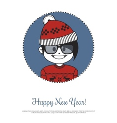 Holiday card with hipster Santa in red knitted hat vector image