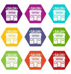 house tattoo salon icons set 9 vector image
