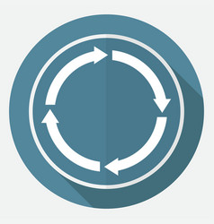 Icon abstract arrow on white circle with a long vector