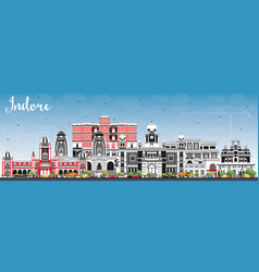 Indore india city skyline with gray buildings vector