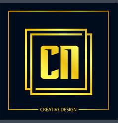 initial letter cn logo template design vector image