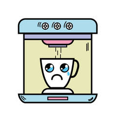 Kawaii cute crying coffee maker technology vector