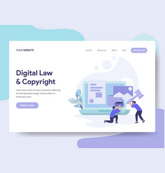 Landing page template of digital law and vector
