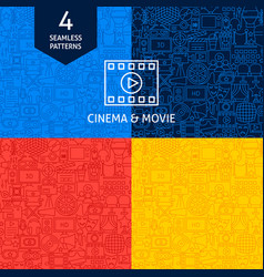 Line cinema movie patterns vector