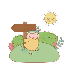 little chick with egg broken in the garden easter vector image