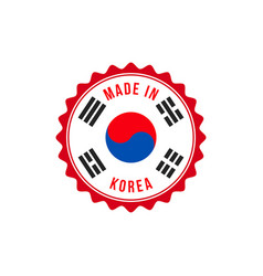 made in korea quality seal flag circle icon vector image