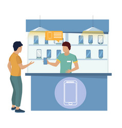 man buying new cell phone seller showing vector image