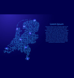 map netherlands from printed board chip and radio vector image