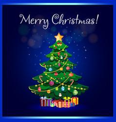 merry christmas greeting card of cute cartoon fir vector image
