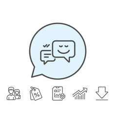 Message speech bubbles with smile line icon vector