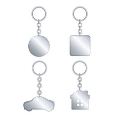 Metal keychain realistic template set vector