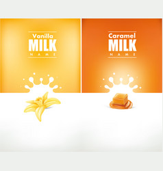 Milky splash with vanilla flower and caramel vector