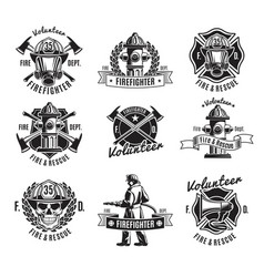 monochrome firefighting labels set vector image