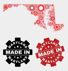 mosaic maryland state map cog elements and vector image