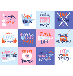 Music love motivation lables badges karaoke vector
