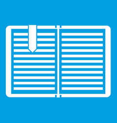 Open book with a bookmark icon white vector
