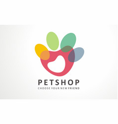 pets hop logo dog cute friend store vector image