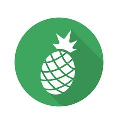 Pineapple flat design long shadow icon vector