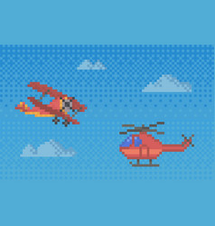 pixel helicopter and plane for old pixel-game vector image