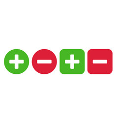Plus and minus icon set vector