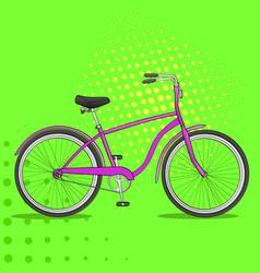 Pop art bike the vehicle is pink comic book vector