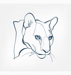 Puma lion cat animal wild one line design vector