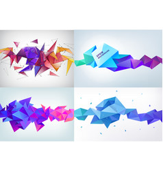 realistic abstract 3d shape faceted vector image