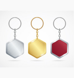 Realistic metal and plastic keychains set rhombus vector