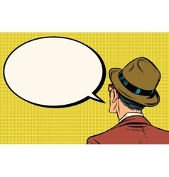Retro man stands and says the comic bubble vector image