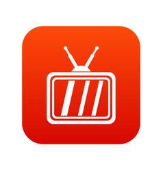 retro tv icon digital red vector image