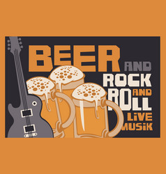 rock-n-roll banner with beer glasses and guitar vector image