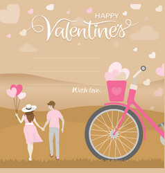 Romantic moment of happiness couple hold hand vector